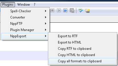 Screenshot of NppExport