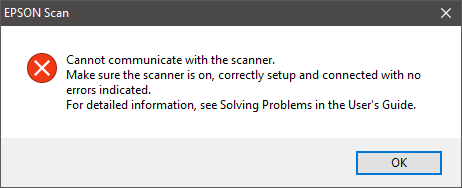 Cannot Communicate with the scanner Message