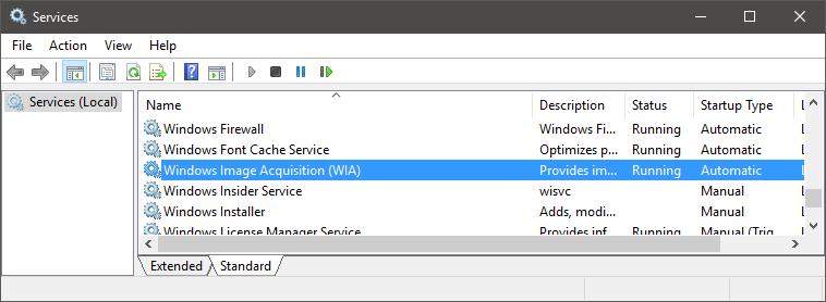 Windows Services List