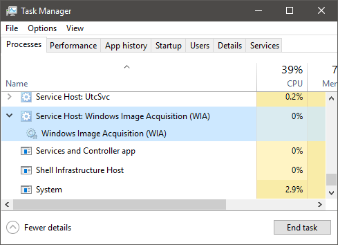 Windows Task Manager with Windows Imaging Acquisition service selected
