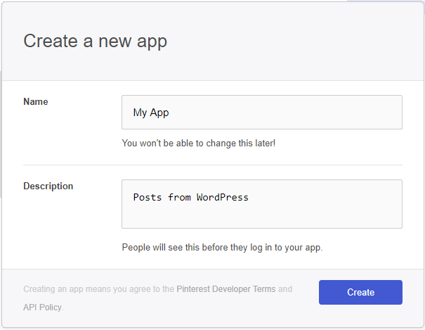 Pinterest app creation form